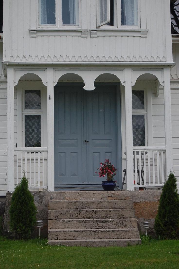 White & blue Swedish porch