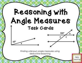 Angle Measures Task Cards freebie- Reasoning with Angle Relationships