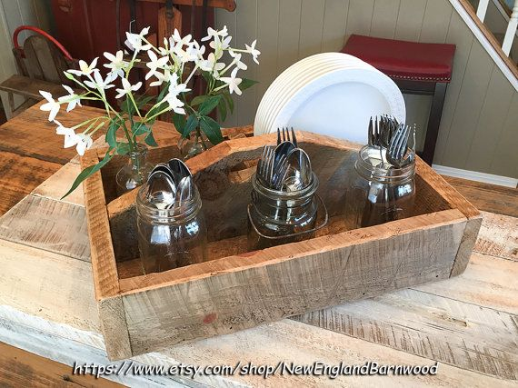 Primitive Style Wooden Cutlery Tray, Rustic Farmhouse Kitchen Tray. This Beautiful and Rustic Wooden Tray Box will add that perfect, warm farmhouse charm to your home.