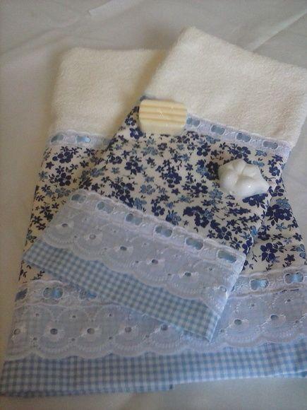 Toalha de Rosto + Toalha de Lavabo Diversos tipos de barrado 100% algodão R$ 55,00