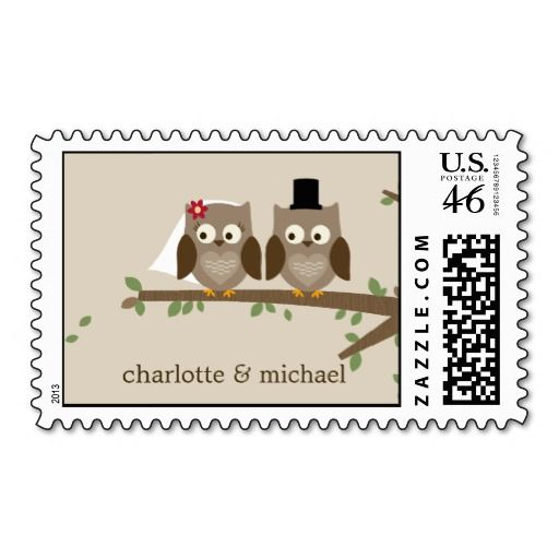 Love Owls Custom Postage Stamp - adorable stamps that can be personalized for mailing your wedding invitations, save the dates, etc.
