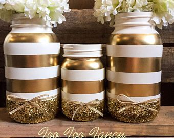 Black White And Gold Mason Jar Black And White Party Decor