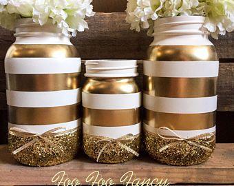 Black White And Gold Mason Jar Black And White Party Decor