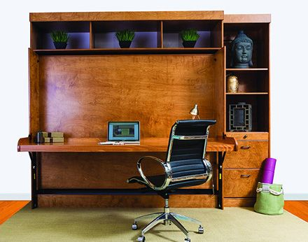 "Hidden Desk Wallbed, Murphy Bed. Wallbed features 80""w desk. When you fold down the bed, you do not need to clear off your things from the surface of the desk."