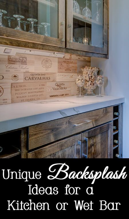 Unique backsplash ideas for a wet bar or kitchen - wood wine boxes