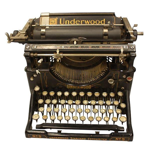 Underwood Typewriter    Vintage black Underwood typewriter. Dimensions: 10 1/2 x 13 x 10.