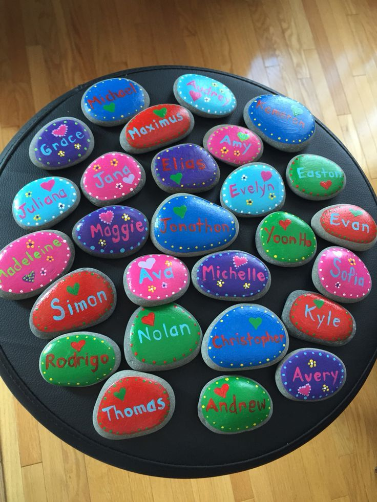 Painted name stones for end of year student gifts