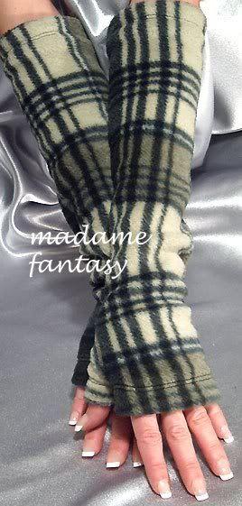 Extra Long Fleece Fingerless Gloves / Arm Warmers - Green Tartan