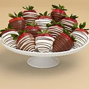 Full Dozen Gourmet Dipped Swizzled Strawberries from Shari's Berries. These are DELICIOUS! All berries are firm, not mushy, and COMPLETELY covered in chocolate! :)
