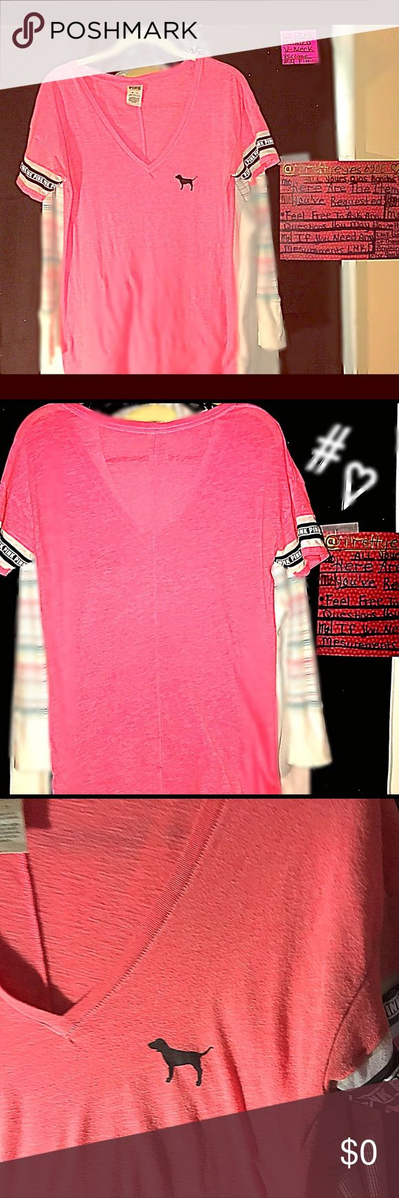 💞PENDING💌TRADE💞PINK~Marled-Pink W/LOGO<Banded VS PINK MARLED PINK BLACK~BANDED SLEVES WITH THE LOGO~PINK~WHITE LETTERS<PINK! DEEP V-NECK TEE BLACK DOG🐾 ON LEFT BREAST! HAS A LOOSER FIT BUT NOT OVERSIZED! SUPER SOFT & COMFORTABLE WITH A SEAM DOWN THE BACK FOR A MORE FLATTERING FIT COMES RIGHT BELOW THE BELT LINE! 🎀🖤🎀PRETTY & HTF IN THIS COLOR!! EXCELLENT CONDITION NO FLAWLESS!! PINK Victoria's Secret Tops Tees - Short Sleeve