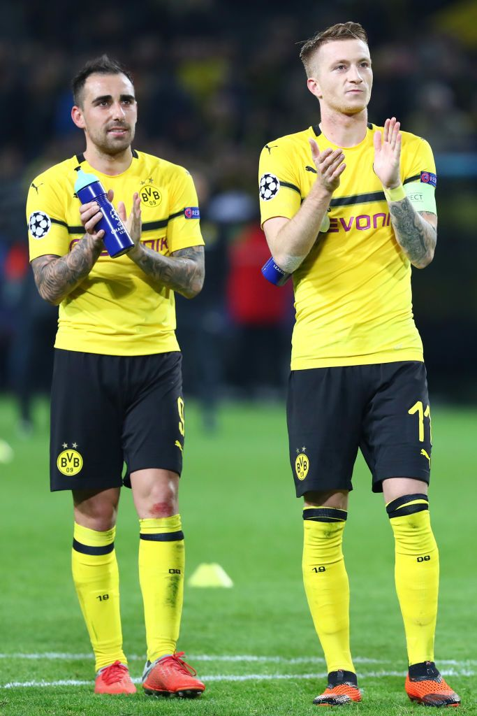 Paco Alcacer Of Borussia Dortmund And Marco Reus Of Borussia Dortmund Champions League Uefa Champions League Borussia Dortmund