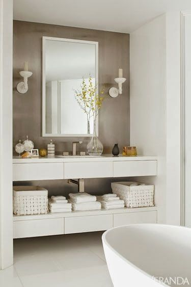 built-in vanity nook // #bath