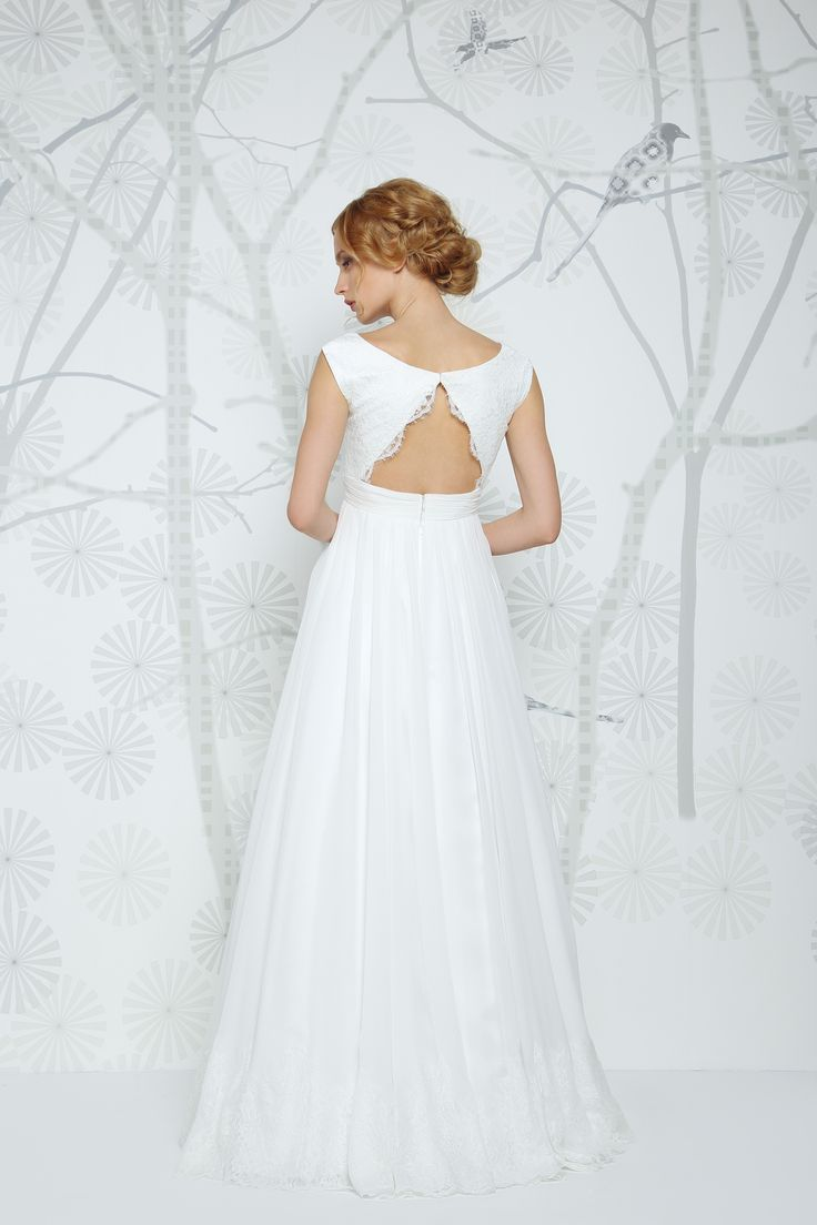 SADONI wedding dress EMMA with sophisticated boat neckline in French lace and draped silk chiffon skirt with lace edge!