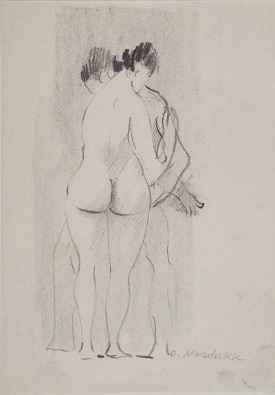 OLAV MOSEBEKK KONGSBERG 1910 - OSLO 2001  Omfavnelse Kull på papir, 27x13 cm Signert nede til høyre: O. Mosebekk