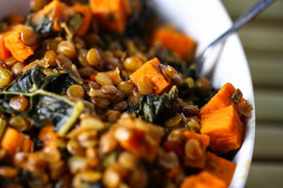 Spicy Lentils with sweet potatoes & Kale