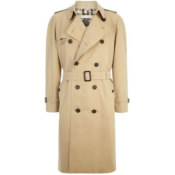 Burberry The Westminster Long Heritage Trench Coat (108.735 RUB) ❤ liked on Polyvore featuring men's fashion, men's clothing, men's outerwear, men's coats, mens military coat, mens fur lined coat, mens lightweight trench coat, burberry mens coat and mens fur collar coat