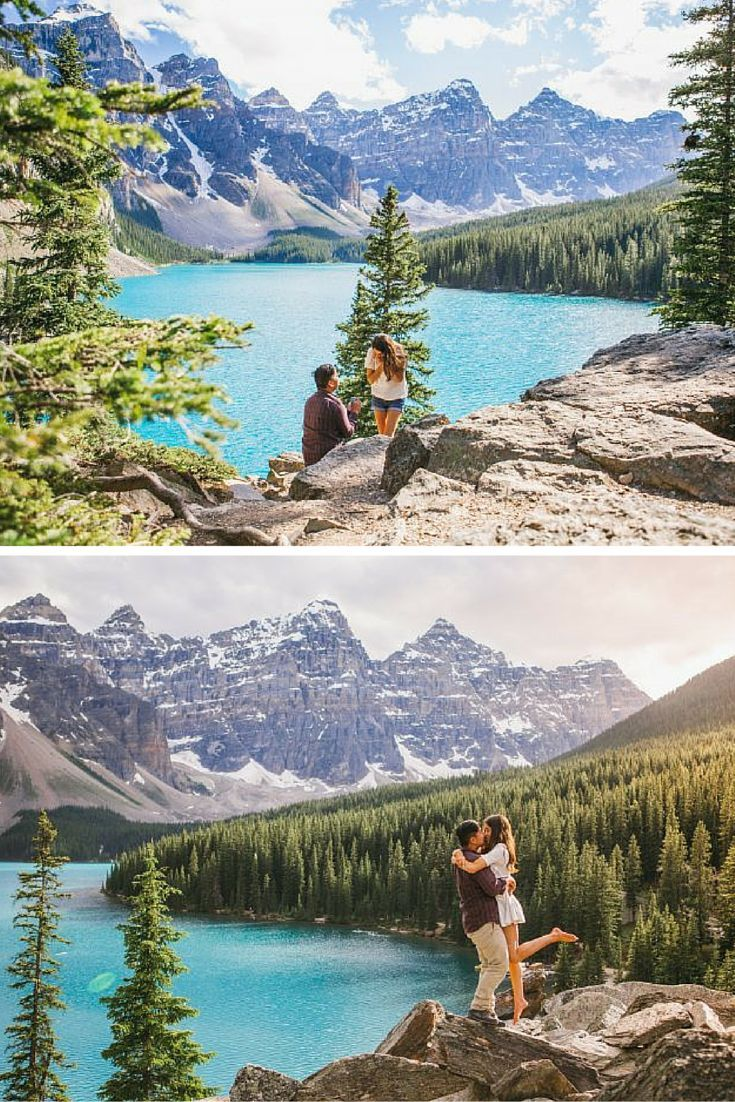 Absolutely stunning marriage proposal at Lake Louise! She had no idea he was planning to pop the question.