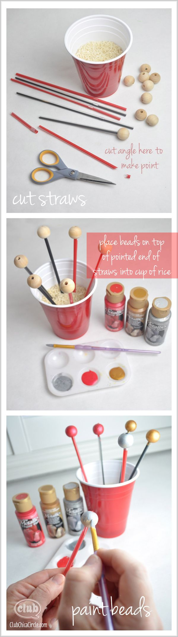 Easy painting wooden beads tutorial @clubchicacircle @DecoArt Inc. Inc.