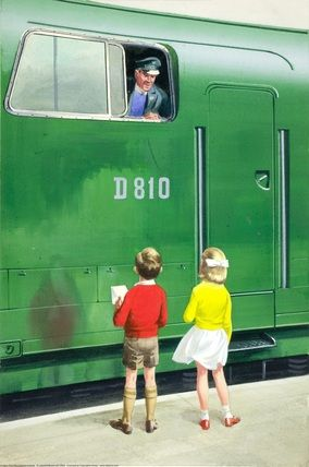This is Peter and Jane, trainspotting a Warship class diesel hydraulic loco! Nice illustration.