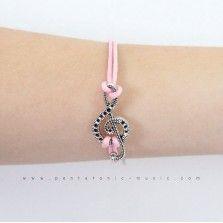 Single G Clef 5 Bracelet - Pink