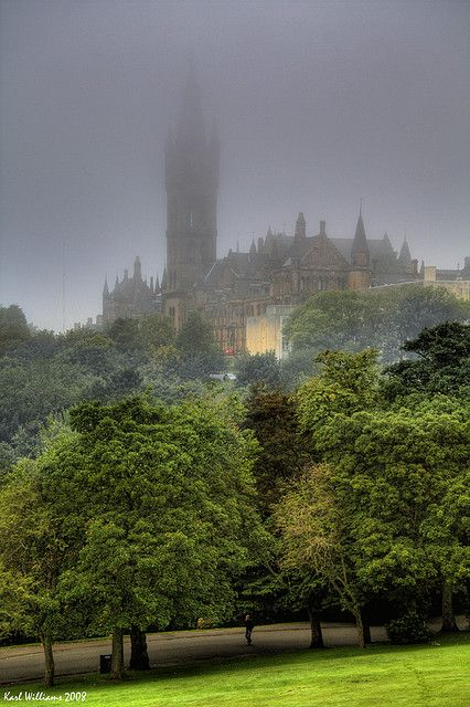 The Tower of Glasgow University in the mist in Kelvingrove Park,Scotland