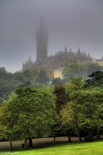 The Tower of Glasgow University in the mist in Kelvingrove Park, Scotland