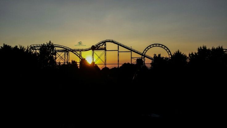 Sunset behind the Roller Coaster