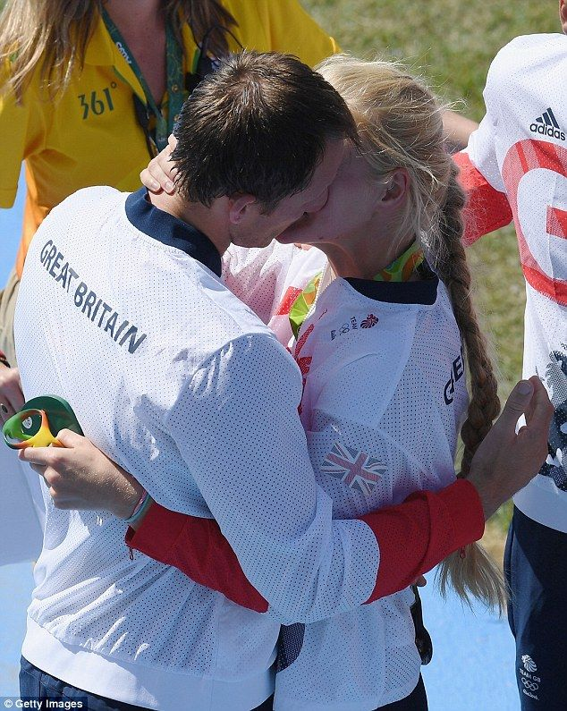 This is the moment a loved-up Team GB rowing couple congratulated each other on…