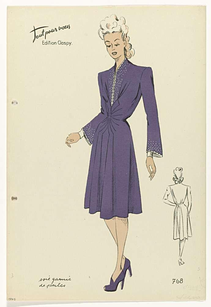 Anonymous   Tout pour vous, Edition Claspy, 1943, No. 768 : Soie garnie de perles, Anonymous, 1943   Japon van paarse zijde, met een rij 'parels' op het lijfje. Schoenen met hoge hakken.