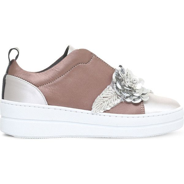 Kurt Geiger London Loop embellished satin trainers ($190) ❤ liked on Polyvore featuring shoes, sneakers, floral print sneakers, decorating shoes, sports footwear, floral print shoes and rubber sole shoes
