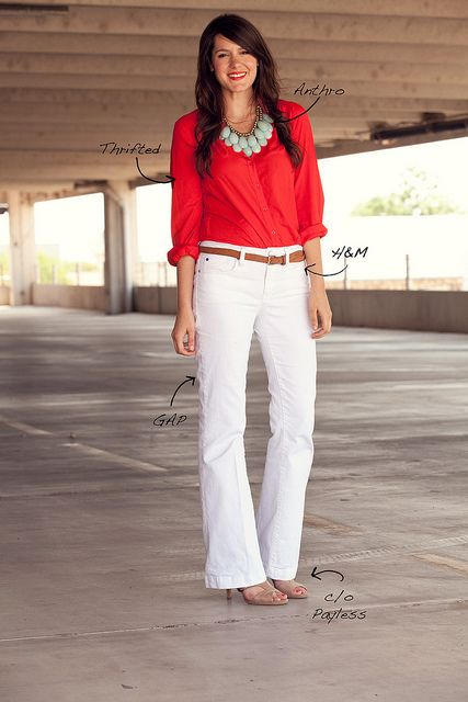 red shirt, statement necklace, white jeans