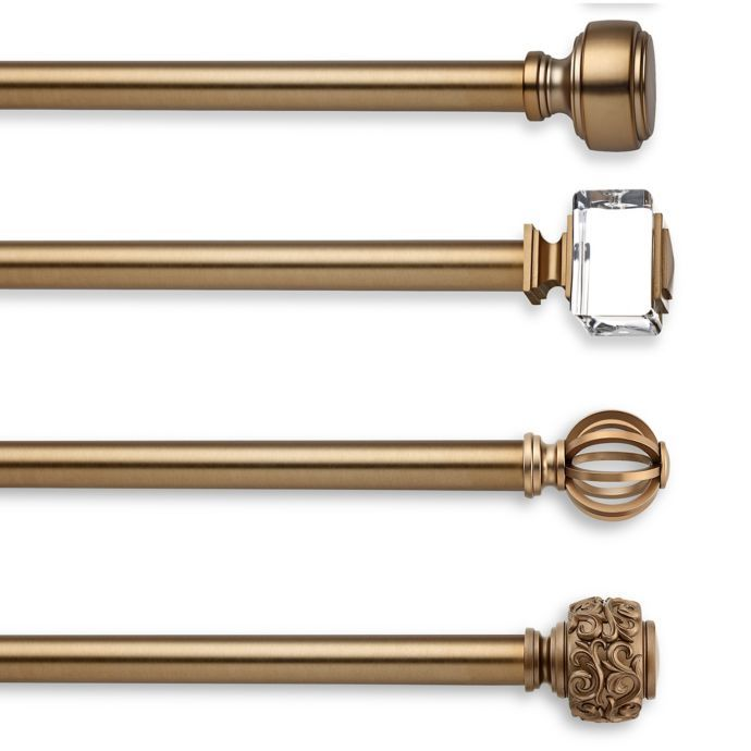 Cambria Estate Curtain Rod Hardware Collection In Warm Gold