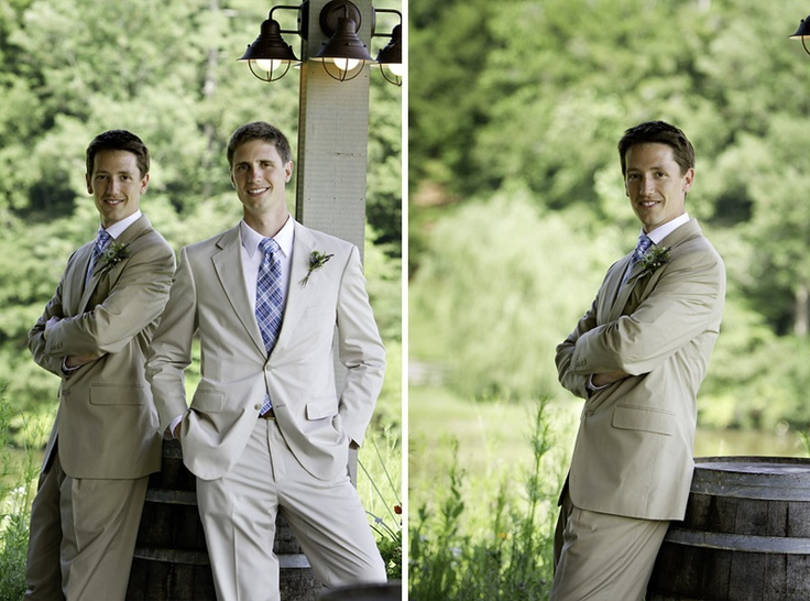 Groom and Best Man in Tan Suits