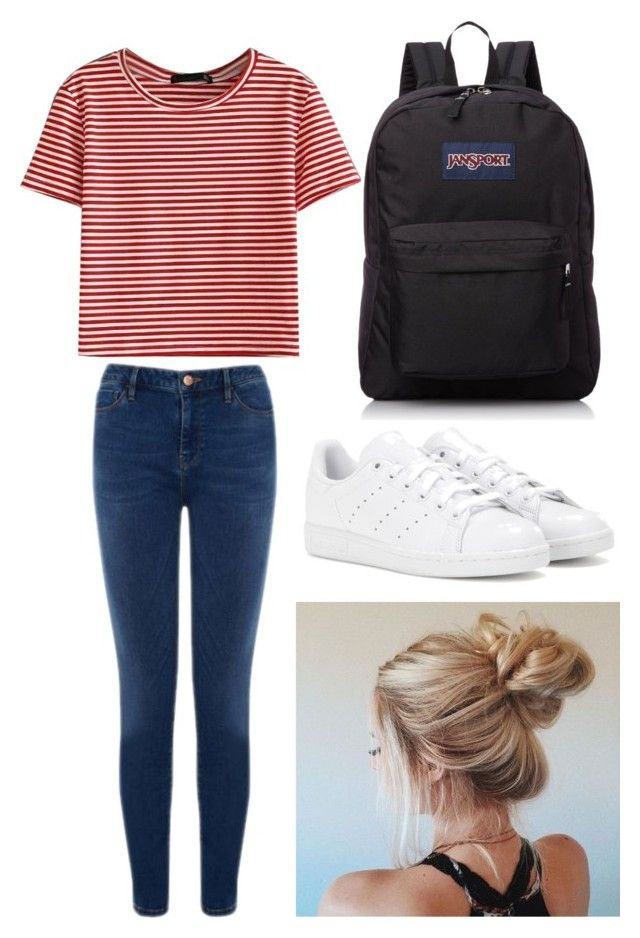 """Outfit #3 Casual"" by anaza1410 on Polyvore featuring moda, WithChic, Warehouse, adidas y JanSport"