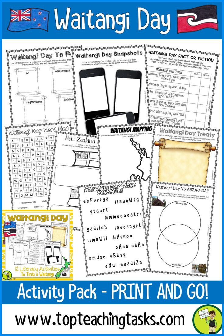 Waitangi Day Literacy Activity Pack. This resource has everything a teacher needs for a focus on Waitangi Day and The Treaty of Waitangi, New Zealand's founding document. Easy to use and features flexible activity options. Word find, Venn Diagram, Flag activities, Te Reo vocabulary and more interesting and engaging activities. #Reading #WaitangiDay #ReadingIdeas #TeachingIdeas #YearFive #YearSix #TreatyofWaitangit
