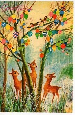 VTG Reindeer Deer Doe MCM Cute Blue Forest Ornaments Christmas Greeting Card