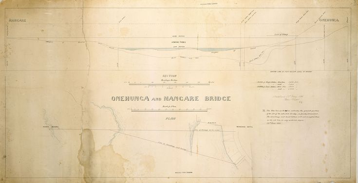 1866. A manuscript of a plan of the bridge between Mangere and Onehunga, with a plan and cross-sections of relevant parts of the harbour. Sir George Grey Special Collections, Auckland Libraries, NZ Map 1155.
