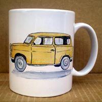 Old style yellow Trabant #HandPainted #mug #Trabant