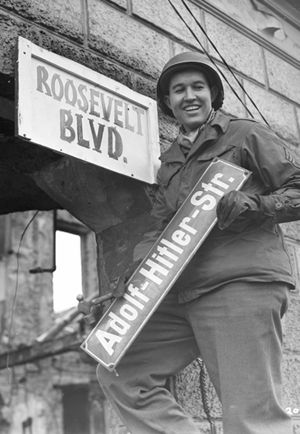 Denazification in Krefeld, Germany, March 9, 1945.    Credit: National Archives and Records Administration, College Park, Md.