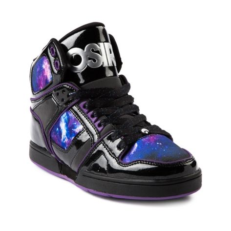 Shop for Womens Osiris NYC 83 Slim Skate Shoe in Black Nebula at Journeys Shoes. Shop today for the hottest brands in mens shoes and womens shoes at Journeys.com.Intergalactic high-top skate shoe from Osiris, NYC 83 featuring a patent upper with black patent upper, purple nebula outer space paneling, and rubber skate sole. Available exclusively at Journeys and Shi!