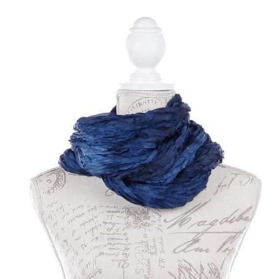 denim blue wrinkled silk scarf for women/  No iron denim blue