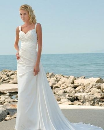 beach wedding dresses cathedral train neck casual gown