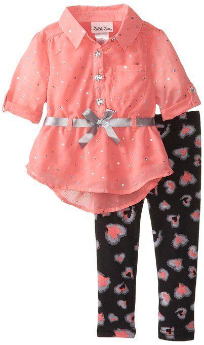 Little Lass Baby-Girls Infant 2 Piece Chiffon Shirt Legging Set, Coral, 18 Months
