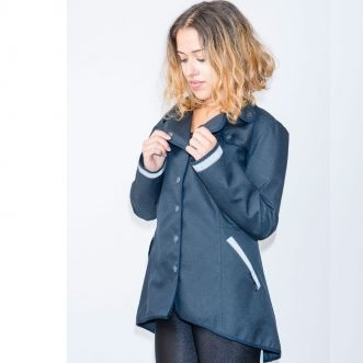 No Such Thing Ladies Cycling Trench Jacket - Navy. Withe reflective strip on cuffs, pockets and back. £210
