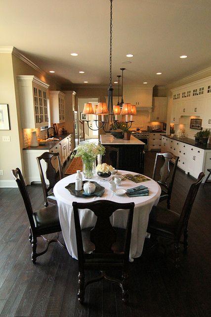 Dream Kitchen Dark Wood Floor White Cabinets Black