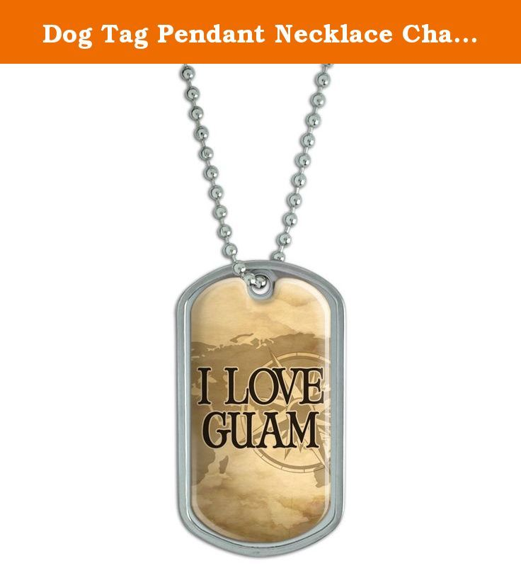 """Dog Tag Pendant Necklace Chain Country Ca-Hu - Guam. Our stainless steel dog tags feature a fun, urethane-encased printed graphic, as shown, expressing your unique interests and personality! Want to get even more personal? The backside is perfect for engraving. (Unfortunately, we do not offer engraving services; please check with your local engraving shop!) The tag comes with an adjustable 24"""" chain to complete the functional-but-fashionable look. Size: 2"""" x 1.1""""."""