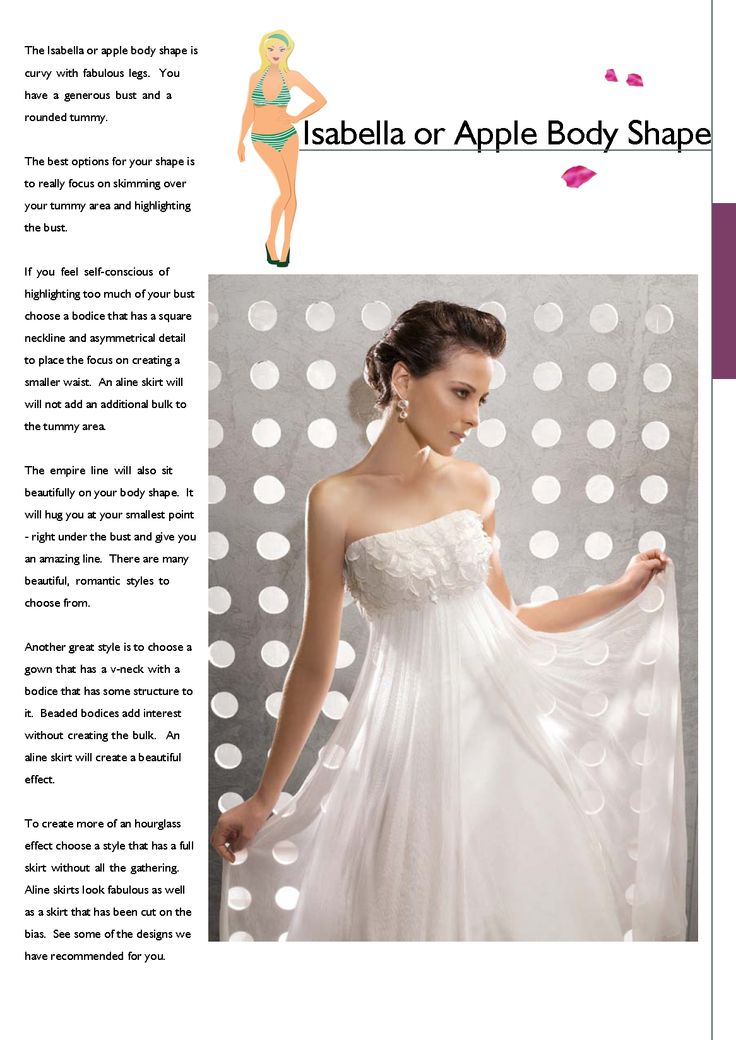 Isabella apple body shape bridal gown suggestions for Body shaper for wedding dress