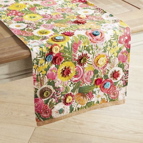 Featuring bright blooms and lots of textural interest, our vibrant floral table runner is a spring garden you can enjoy from the comfort of your dining room table.