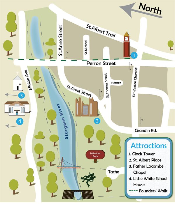 Today, the Perron District is the heart of St. Albert, featuring historical buildings, colorful festivals, the St. Albert Farmers' Market, as well as numerous shopping, dining, and cultural attractions. Use this website to get the most out of the Perron District today!