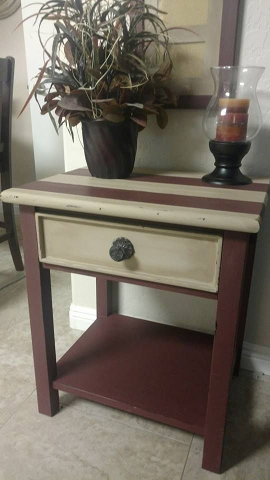 Teresa Morse Used Burlap And Muscadine Wine On This Cute Side Table.